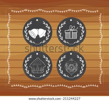 Chalkboard christmas gift tags hand drawn vintage - stock vector