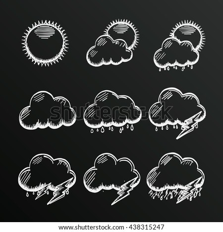 Chalkboard collection clouds icon, sketch cloud and sun, weather phenomenon, template design element, Vector illustration - stock vector