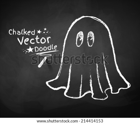 Chalkboard drawing of ghost. Vector illustration. - stock vector