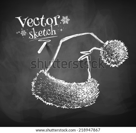 Chalkboard drawing of Santa Claus hat. Vector illustration. Isolated. - stock vector