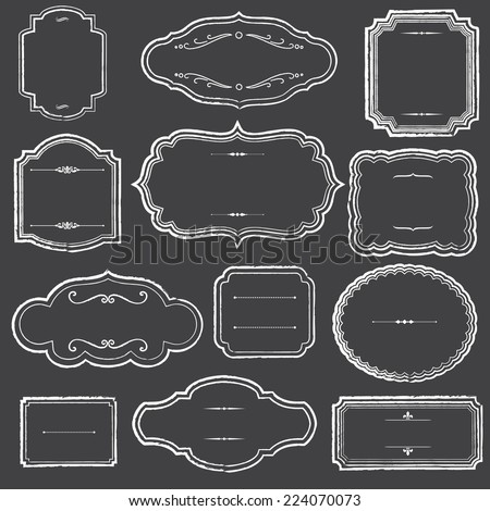Chalkboard Frames and Ornaments - Set of chalk frame and label shapes. - stock vector