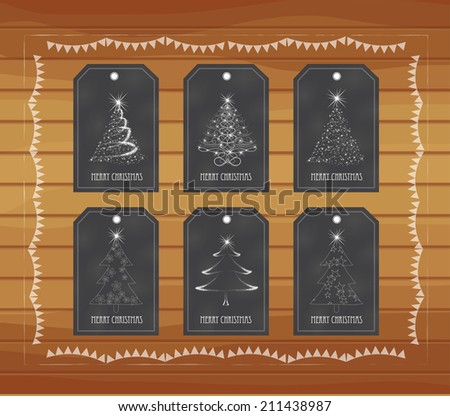 Chalkboard gift tags hand drawn vintage - stock vector