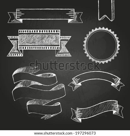 Chalkboard labels, ribbons and stickers - stock vector