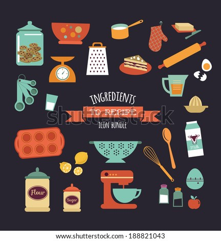 Chalkboard meal recipe template vector design with food icons and elements - stock vector