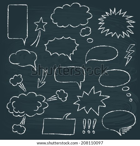 Chalkboard set of speech bubbles in comics style - stock vector