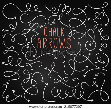Chalkboard Style Doodle Hand Drawn Vector Arrows - stock vector