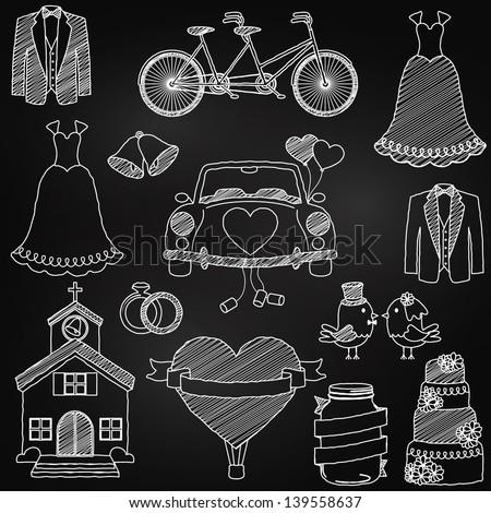 Chalkboard Style Wedding Themed Doodles - stock vector