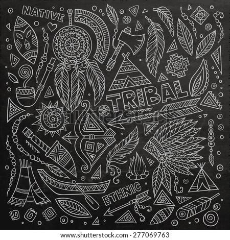 Chalkboard tribal native American set of symbols - stock vector