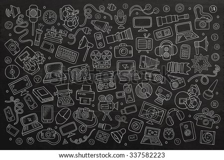 Chalkboard vector hand drawn Doodle cartoon set of equipment and devices objects and symbols - stock vector