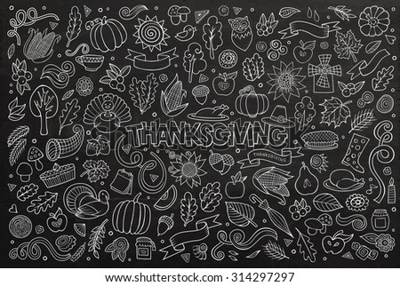 Chalkboard vector hand drawn Doodle cartoon set of objects and symbols on the Thanksgiving autumn theme - stock vector
