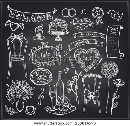 Chalkboard wedding banquet elements - flowers, sweets, ribbons and labels. - stock vector
