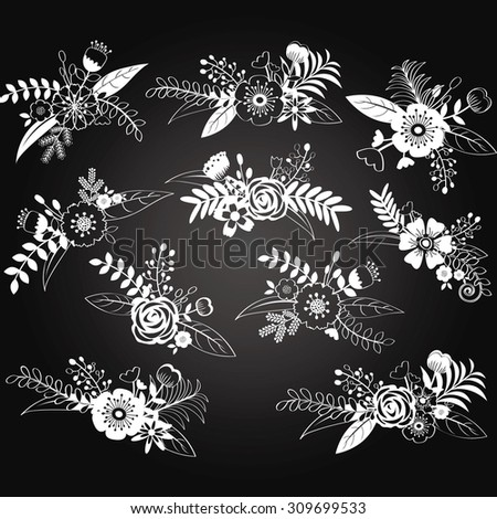 Chalkboard Wedding Flower Set. - stock vector