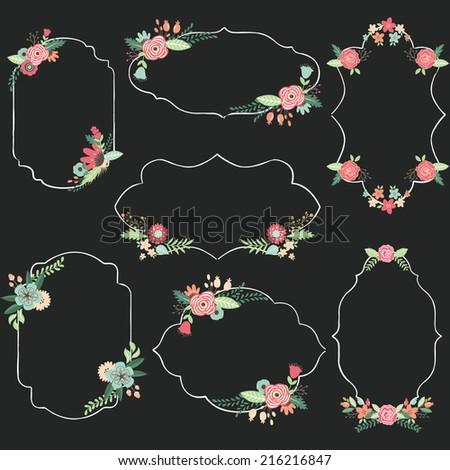 Chalkboard Wedding Frame - stock vector