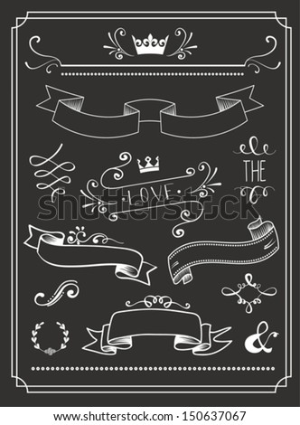 Chalkboard Wedding graphic set, arrows, hearts, laurel, wreaths, ribbons and labels. - stock vector