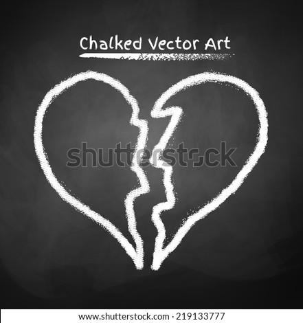 Chalked broken heart. Vector sketch. - stock vector
