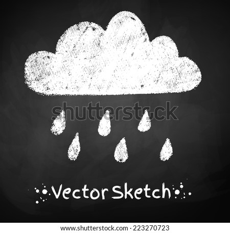 Chalked childlike drawing of rainy cloud. Vector illustration. Isolated. - stock vector