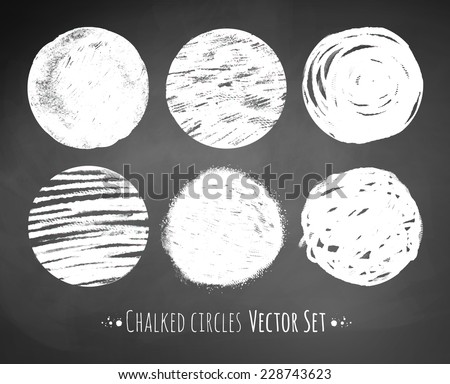 Chalked circles. Vector illustration. - stock vector