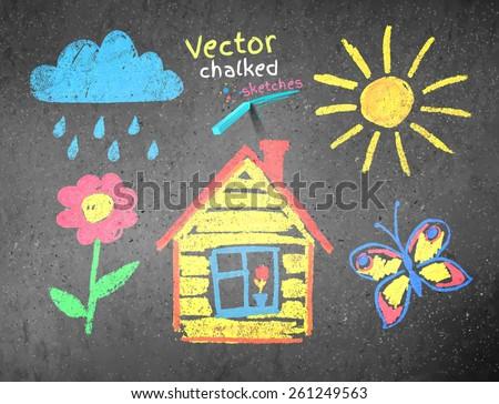 Chalked kids drawing on asphalt background. Vector illustration. - stock vector
