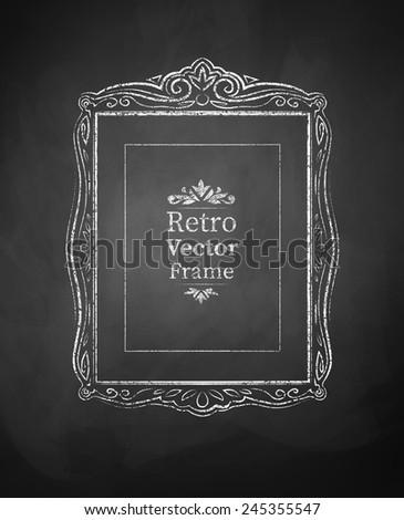 Chalked vintage baroque frame. Vector illustration. Isolated.  - stock vector