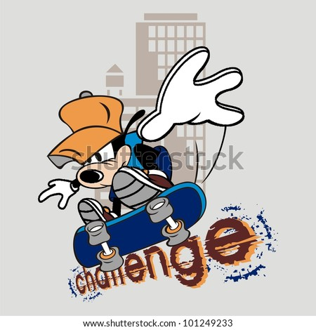 challenge skateboard illustration cartoon - stock vector