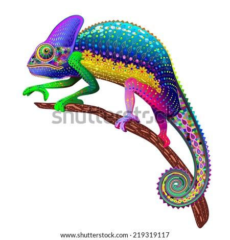 Chameleon Fantasy Rainbow Colors - stock vector