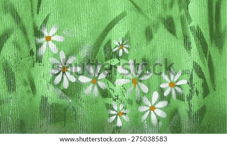 Chamomile flowers, textured background - stock vector