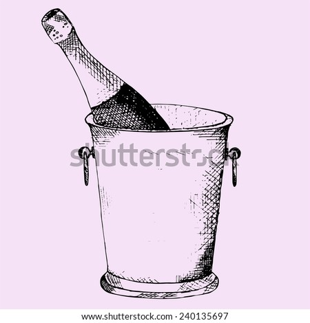 Champagne bottle in a ice bucket on pink background - stock vector