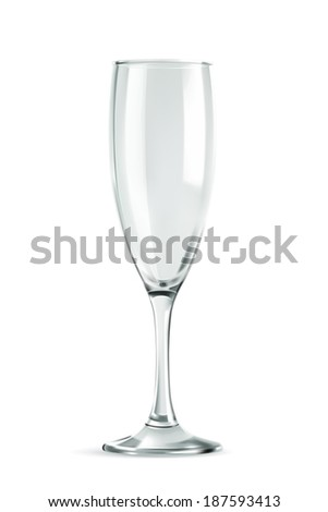 Champagne glass, empty, classic form, vector illustration isolated on a white background - stock vector