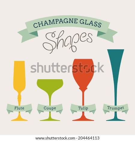 Champagne glass shapes with names on ribbons - stock vector