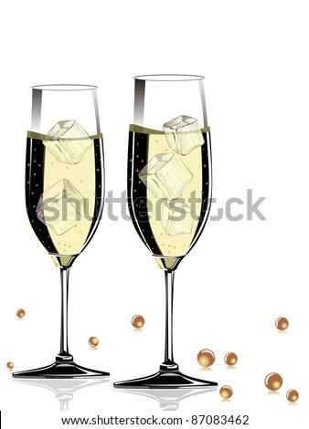 champange glass on white background - stock vector