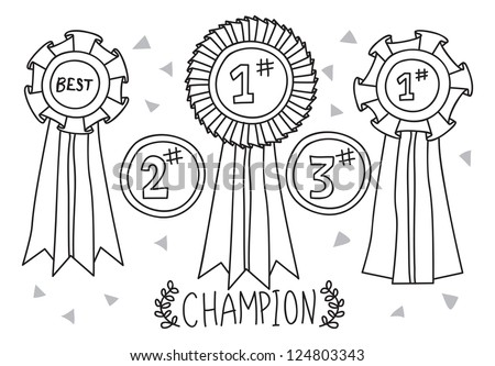 champion award doodle - stock vector