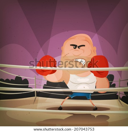 Champion Boxer On The Ring/ Illustration of a cartoon champion english boxer or fight sports hard-boiled character, challenging on the ring with crowd behind - stock vector