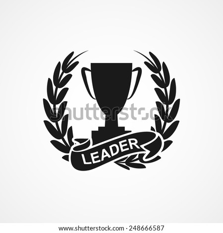 Champion cup and laurel wreath with ribbon, banner. vector illustrations - stock vector