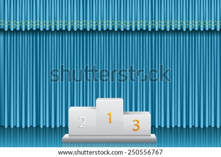 Champion podium over blue curtain - stock vector