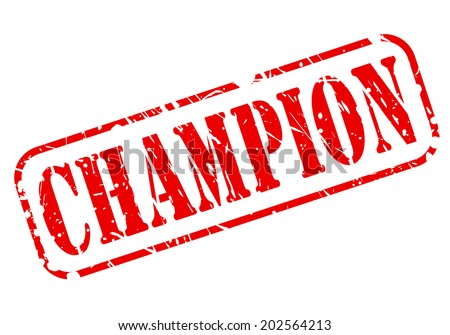 CHAMPION red stamp text on white - stock vector