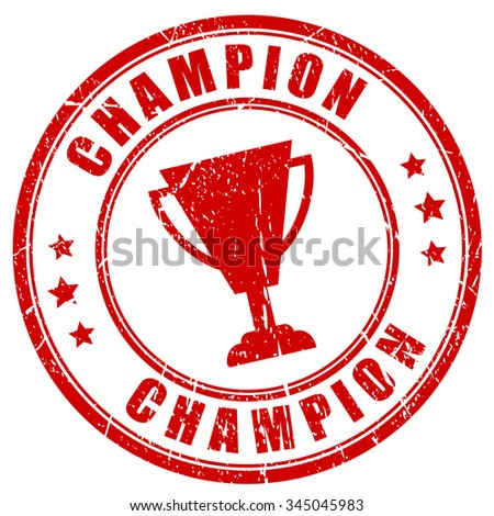 Champion rubber vector stamp on white background - stock vector