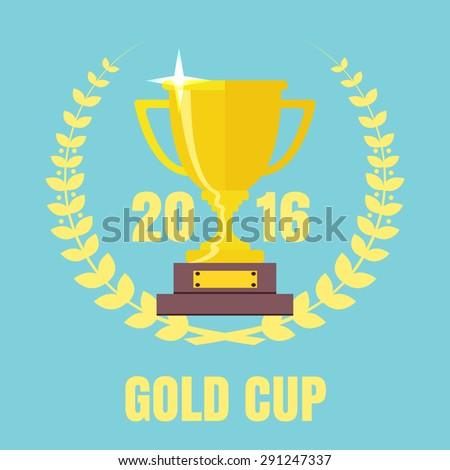 Champions Cup icon vector. Trophy icon. Trophy cup flat vector icon   - stock vector