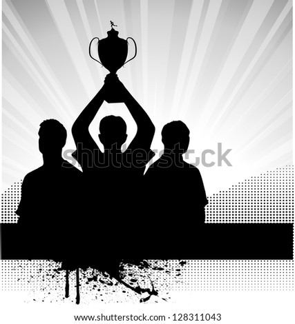 champions with the prize on grunge background - stock vector