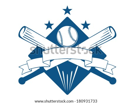 Championship or league baseball emblem logo with a blank wavy ribbon banner with copyspace over crossed bats and a ball superimposed on a diamond with stars, blue and white - stock vector