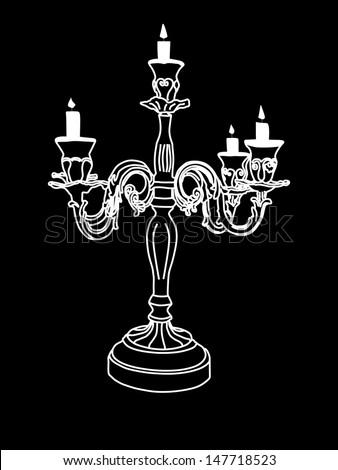 chandelier vector isolated over black background - stock vector