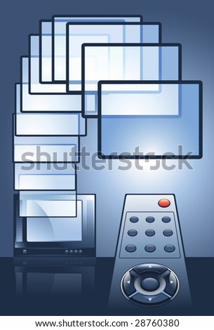 Changing TV Channels With Remote Control, vector - stock vector