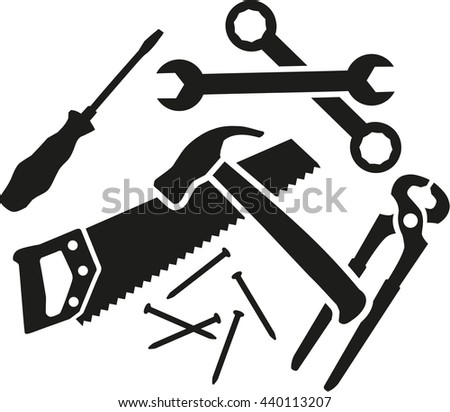 Chaos of working tools - screwdriver, wrench, hammer, saw, plier, nails - stock vector