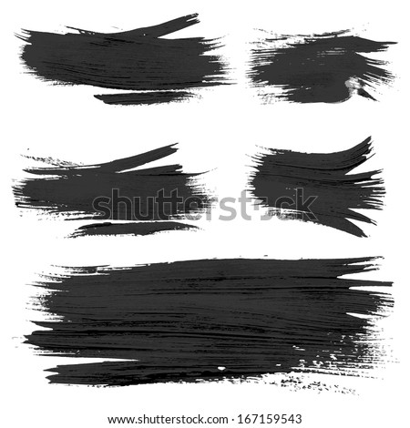 Chaotic rough realistic brush strokes with thick paint 2. Vector drawing - stock vector