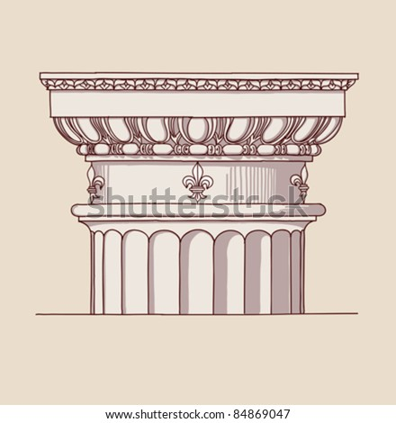 """Chapiter- hand draw sketch doric architectural order based """"The Five Orders of Architecture"""" is a book on architecture by Giacomo Barozzi da Vignola from 1593. Vector illustration. - stock vector"""