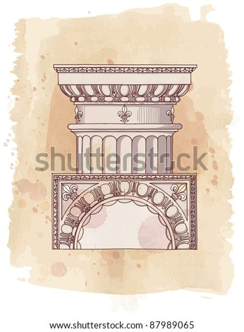 Chapiter- hand draw sketch doric architectural order & vintage watercolor background - stock vector