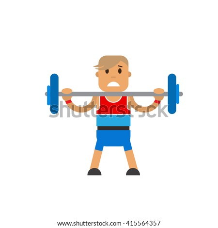 Character athlete sports weightlifting. Weightlifter of weightlifting standing on white background. Vector flat illustration - stock vector