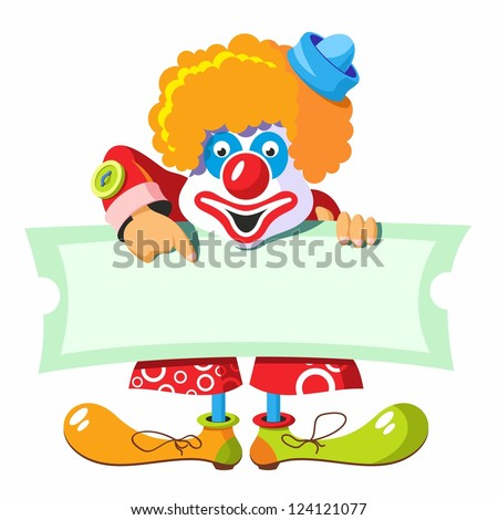 character cheerful clown. clown holding a banner ad. clown on a poster - stock vector