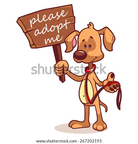 Character dog with a banner - Adopt me. Vector clip-art illustration on a white background. - stock vector
