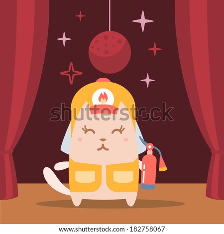 Character firefighter in coveralls and helmet colorful flat. Cat female performs on stage holding a fire extinguisher - stock vector