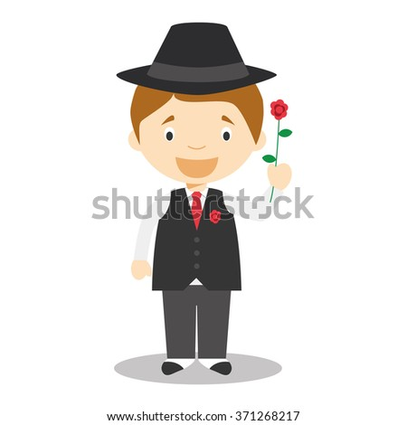 Character from Argentina dressed in the traditional way as a tango dancer with a rose. Vector Illustration. Kids of the World Collection. - stock vector